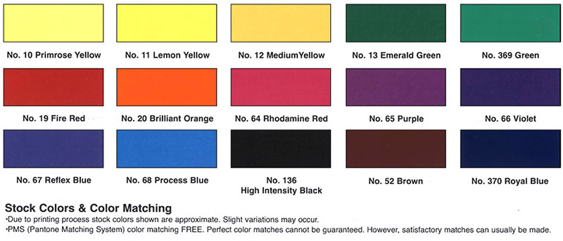 vinyl colors available at priority sign